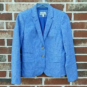 J.Crew Schoolboy Linen Crosshatch Blue Blazer